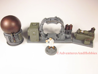 Overhead view of the T2311 Trans Time Portal miniature laboratory equipment for 25 to 28 mm scale war games.