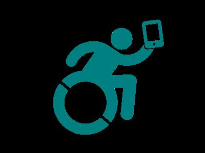 Silueta de persona en silla de ruedas usando un celular