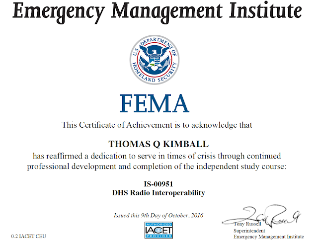 Thomas quick kimball wa8uns blog is 0951 dhs component radio of ridgefield connecticut wanted to share he has completed the fema emergency management institute emi independent study course is 951 dhs radio fandeluxe Image collections