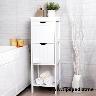 narrow white bathroom cabinet
