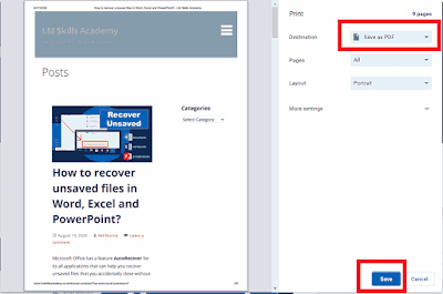 Select Save as PDF and click Save button