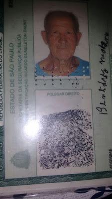 Desaparecido: Benedito Montoni do bairro  Ariri em Cananéia no Vale do Ribeira