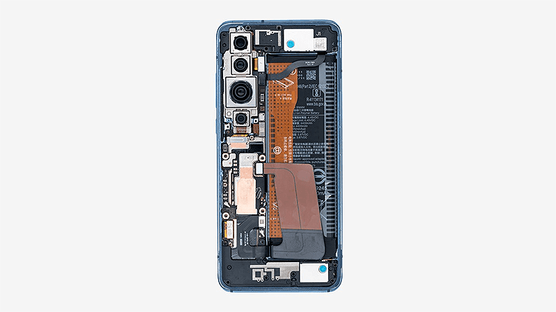 Mi 10 Pro backplate removed