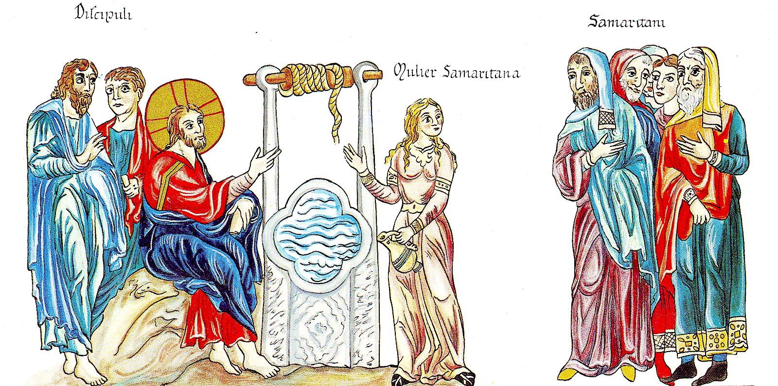 Иисус и Самаряныня. Рисунок 1180 года.