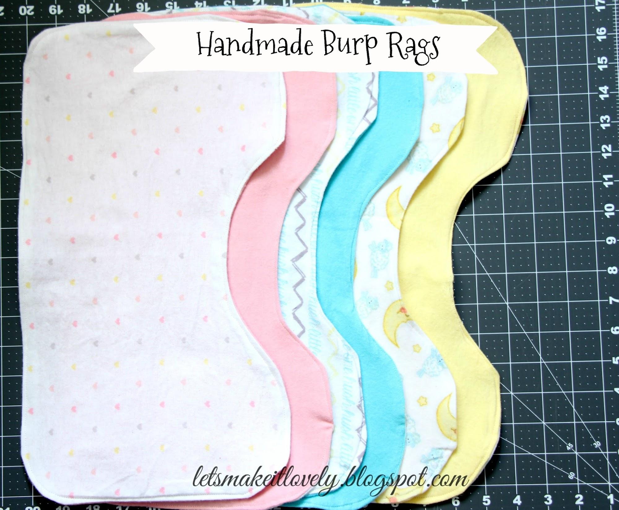 Handmade Burp Rags. Soft Burp rags. Sew Burp Rags.