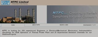 NTPC recruitment of 25 Assistant Chemists and 250 Engineers 2020