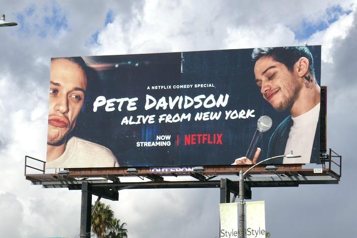 Pete Davidson Alive from New York billboard