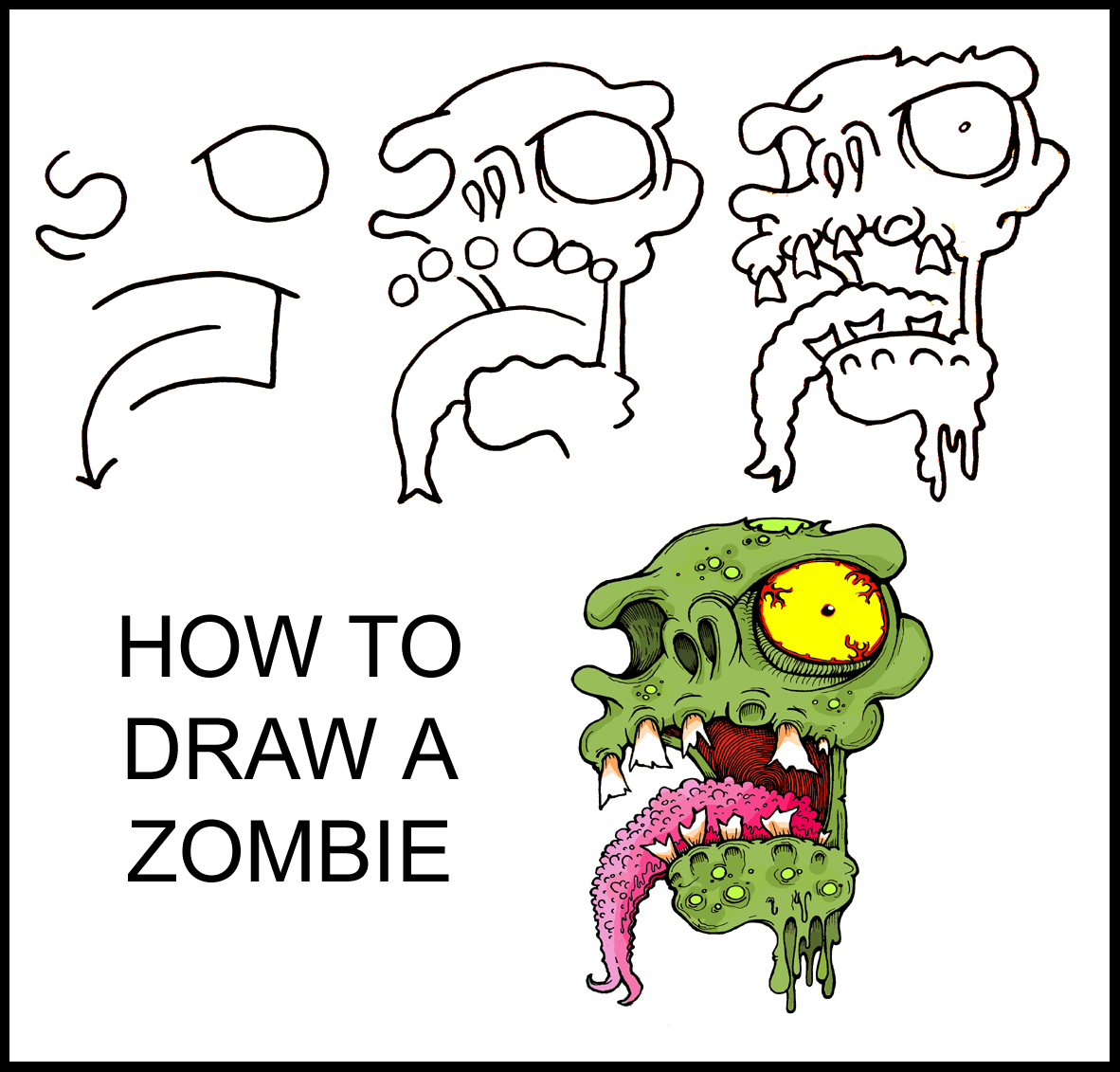 Easy Zombie Drawing Step By Step How To Draw A Zombie Wolf Zombie