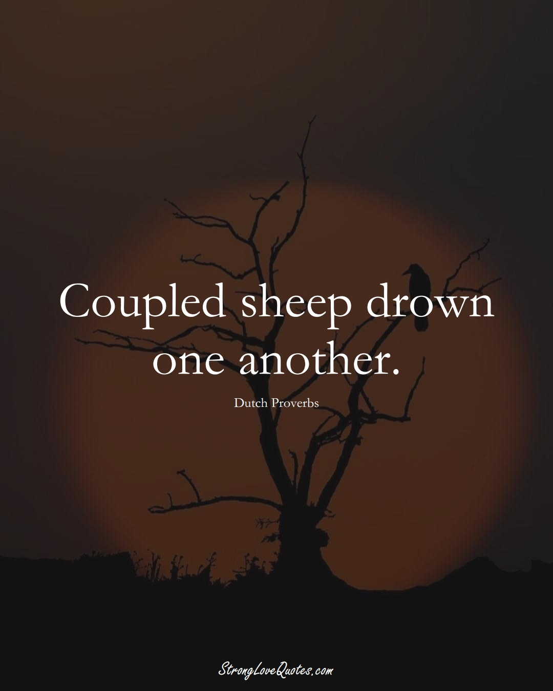 Coupled sheep drown one another. (Dutch Sayings);  #EuropeanSayings