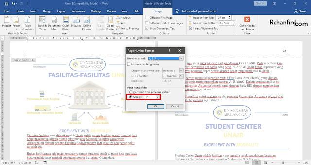 Cara Membuat Letak Nomor Halaman Yang Berbeda di Microsoft Word Dalam 1 File Dengan Mudah