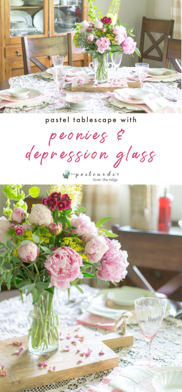 pink depression glass and peonies on a pastel spring table