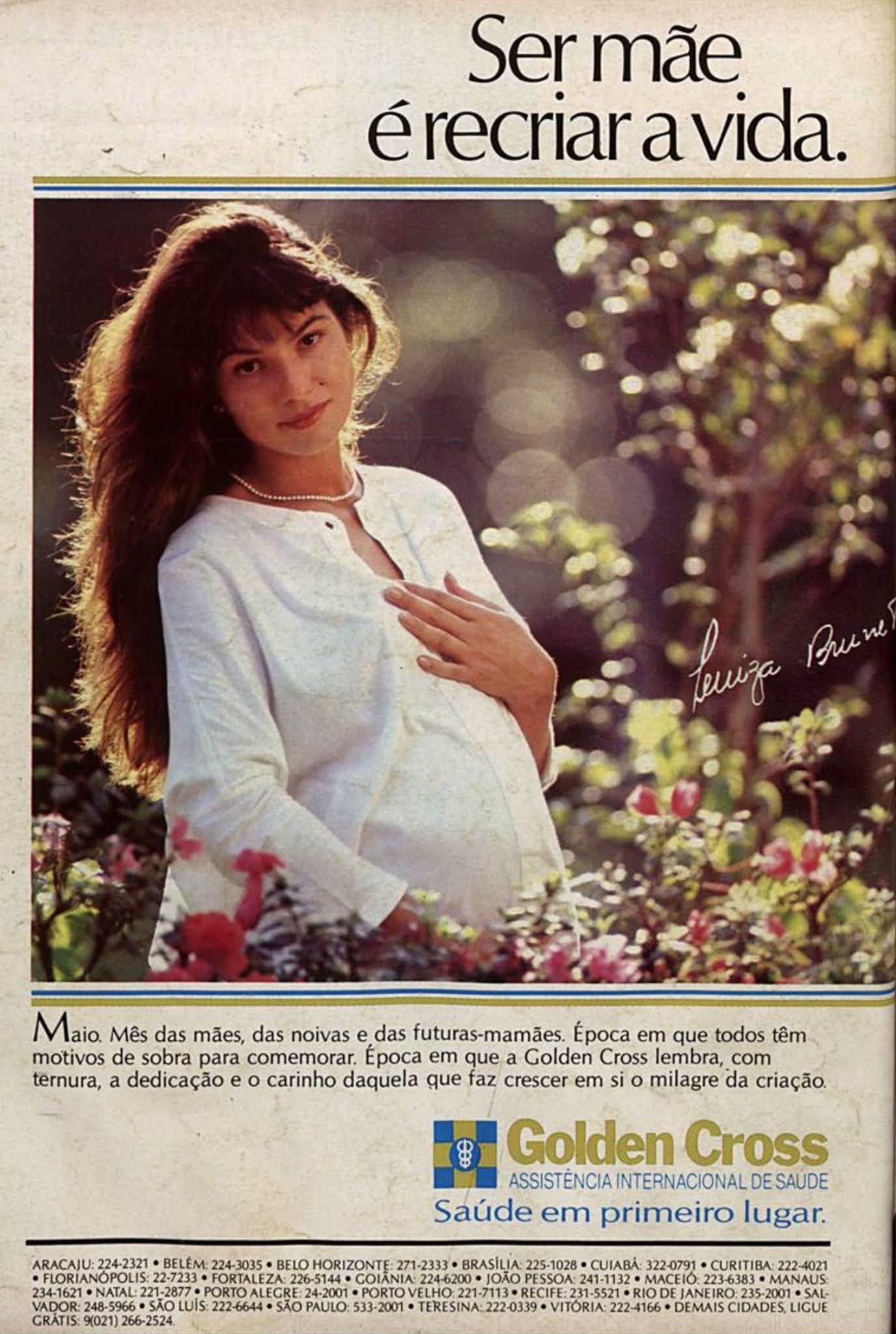 Anúncio da Golden Cross em 1988 com a atriz Luiza Brunet