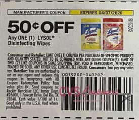 "$0.50/1 Lysol Disinfecting Wipes Coupon from ""SMARTSOURCE"" insert week of 3/8/20."