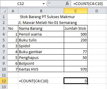 Fungsi Rumus Count dan Countblank Pada Excel