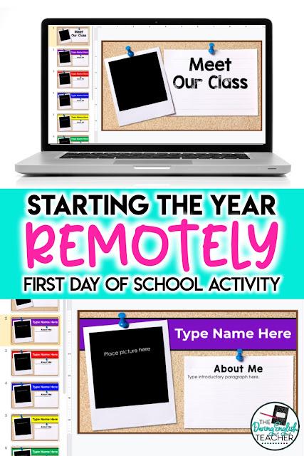 Meet the class all about me first day of school activity for virtual teaching