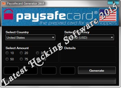 Paysafecard Pin code generator trainer