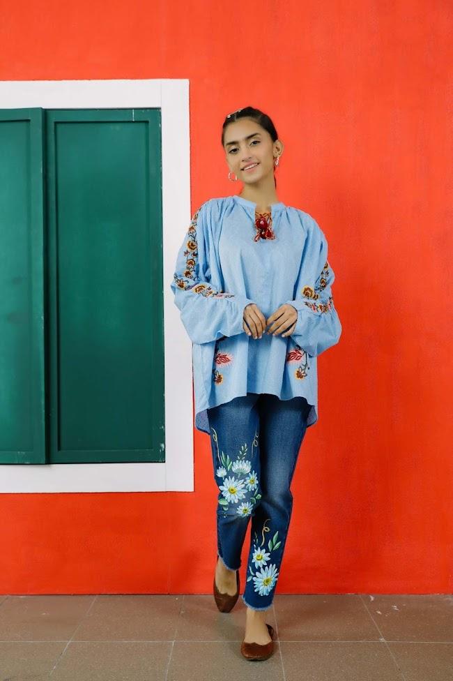 Ethnic Sky Blue Jacquard Shirt