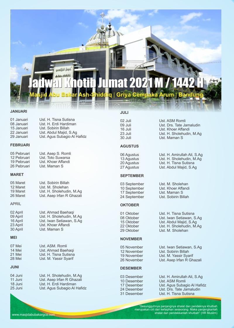 Jadwal Khotib Jumat Masjid Abu Bakar Ash-Shiddiq Griya Cempaka Arum Bandung