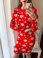Rochie tricotata rosie cu fulgi pentru Craciun •