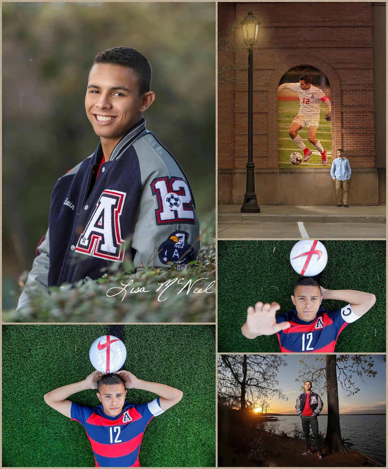 teen boy senior pictures with soccer theme