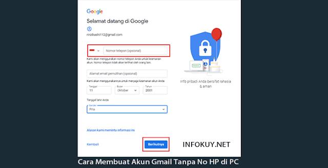 Cara Membuat Akun Gmail Tanpa No HP di PC #2