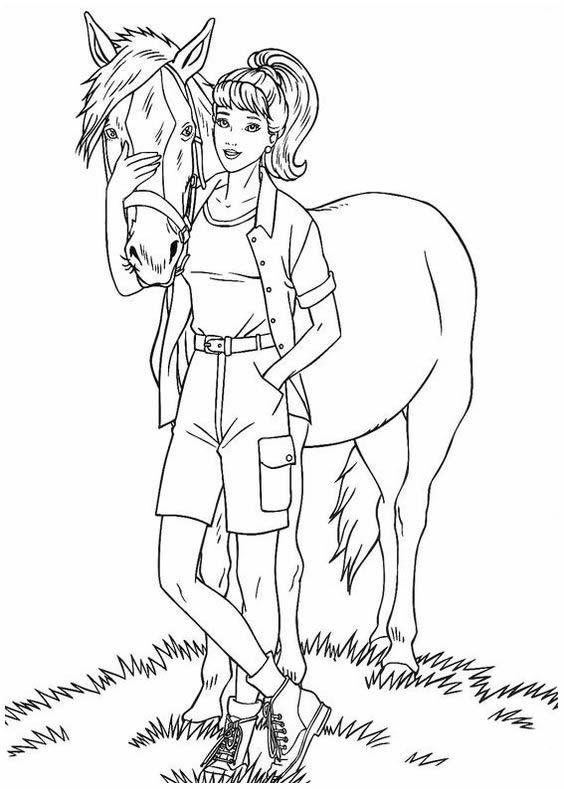 Tranh tô màu dáng người đứng cạnh con ngựa đẹp