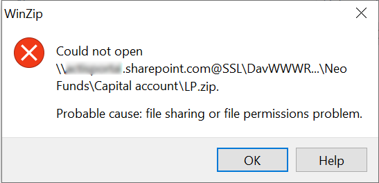 could not open file probable cause file sharing or file permissions problem