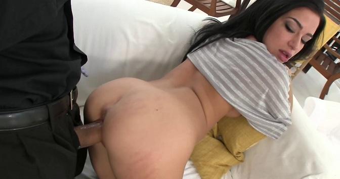 Tiny Latina rides a big dick like a champ