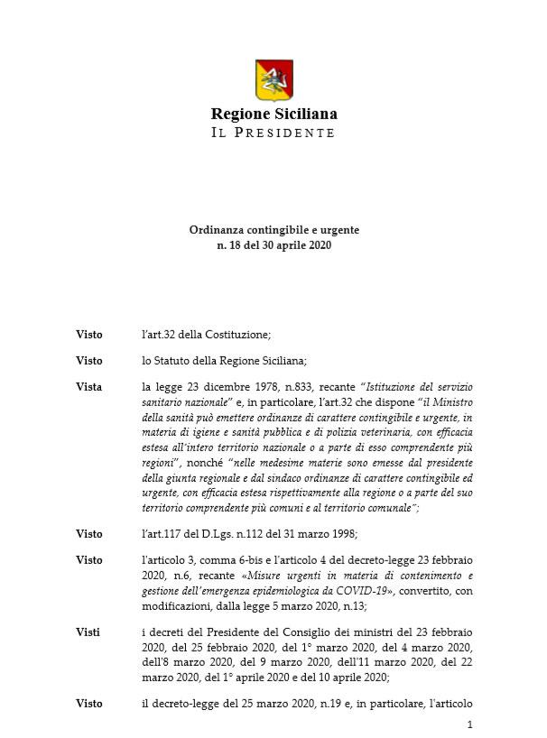 Ordinanza del Presidente della Regione Siciliana n. 18 del 30 aprile 2020