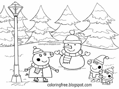 Mummy pig George garden winter snowman pretty Christmas coloring Peppa pig activity sheets for Pre K