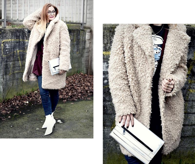 schöner Teddyfell Mantel in Beige, Modeblog für Frauen Ü40