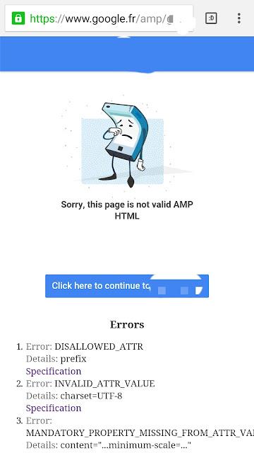 Page amp invalide dans le cache google