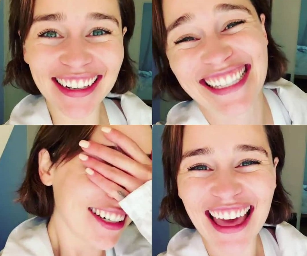 Emilia Clarke doesn't need makeup because she is so cute.