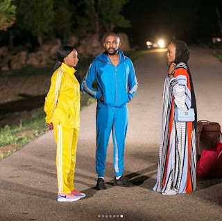 Banky W with beautiful actress, Rahama Sadau on set of a movie