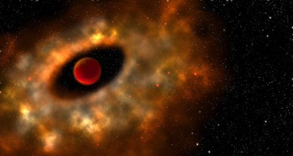 An artist's conception of a young star surrounded by a primordial rotating disk of gas and dust from which planets can form. Illustration is by Robin Dienel, courtesy of the Carnegie Institution for Science.