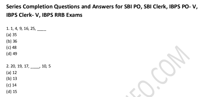 Series Completion Questions and Answers PDF Download