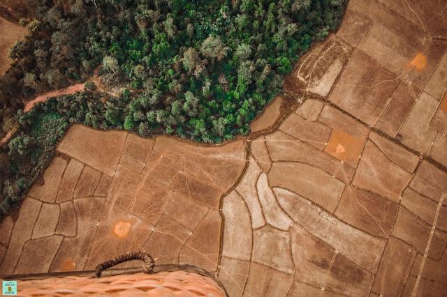 Vistas desde el globo en Vang Vieng, Laos