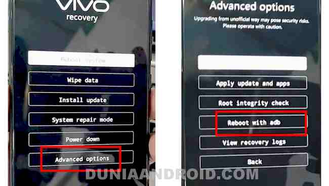 Reset Vivo Y83 via mode recovery