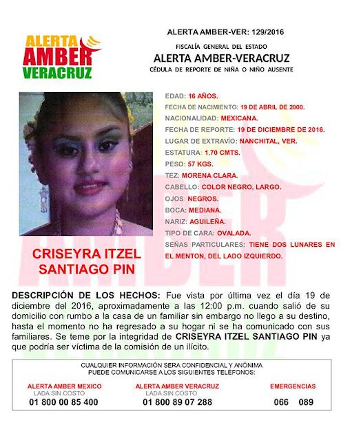 Activan Alerta Amber para Criseyra Itzel Santiago Pin en Nanchital Veracruz