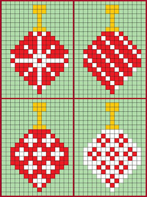 Free pattern for Hama bead or Perler bead Christmas ornament designs