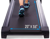"Xterra Fitness TR300 Treadmill's 20"" wide x 55"" long deck, image"