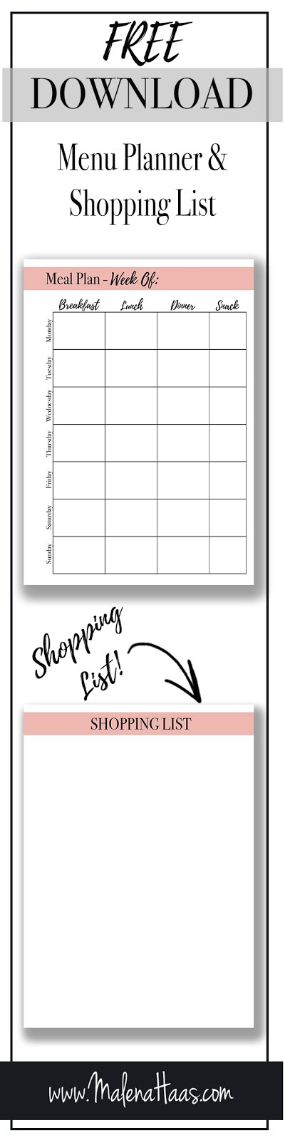 Malena Haas ❤ FREEBIE Friday❤ Meal Planning with Grocery Shopping
