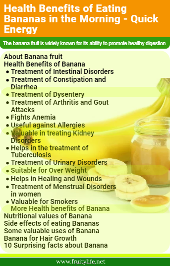 About Banana fruit  Health Benefits of Banana  Treatment of Intestinal Disorders Treatment of Constipation and Diarrhea Treatment of Dysentery Treatment of Arthritis and Gout Attacks Fights Anemia Useful against Allergies Valuable in treating Kidney Disorders Helps in the treatment of Tuberculosis Treatment of Urinary Disorders Suitable for Over Weight Helps in Healing and Wounds Treatment of Menstrual Disorders in women Valuable for Smokers More Health benefits of Banana  Nutritional values of Banana  Side effects of eating Bananas  Some valuable uses of Banana  Banana for Hair Growth  10 Surprising facts about Banana