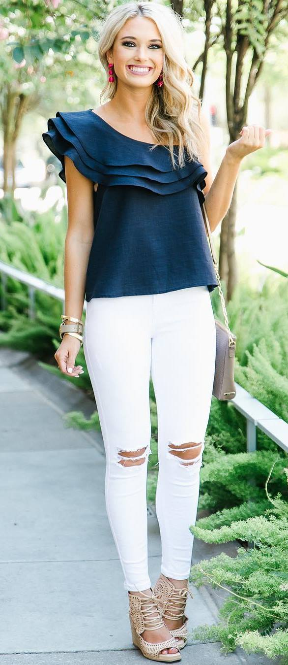 beautiful outfit: one shoulder top + rips + heels + bag