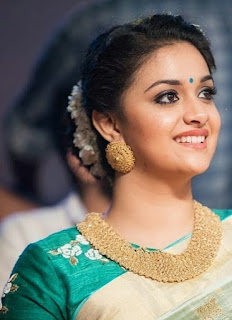 Keerthy Suresh in White Saree with Cute and Awesome Lovely Chubby Cheeks Smile 2