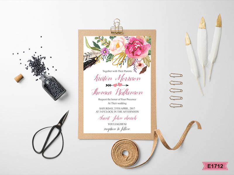 Greek rustic wedding invites E1712