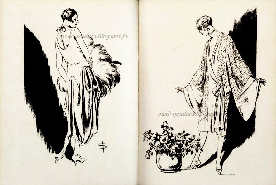 d1d760e7c8b Illustration de mode par Soulié - robe d intérieur en gaze de velours et  phénicienne rose Callot