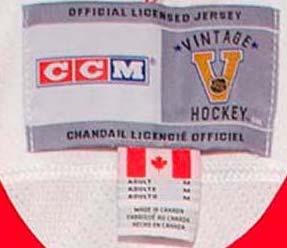 NHL CCM Vintage Hockey jerseys - inside neck labels