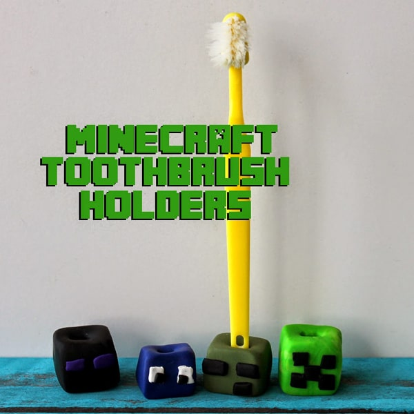 Make a minecraft block toothbrush holder, perfect summer craft for kids