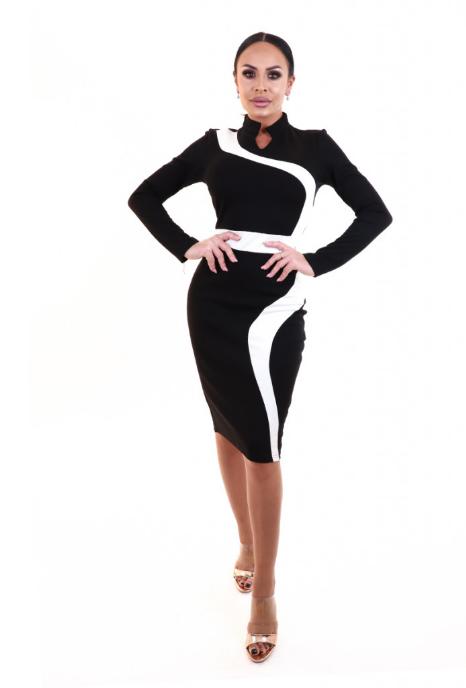 Rochie office stil bodycon model in doua culori negru cu alb